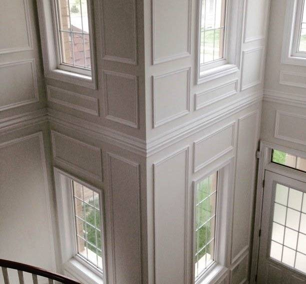 Wainscoting Design and Installation service in Toronto area on wainscoting wall with window, wainscoting at windows, wainscoting panels under windows, wainscoting ideas, wainscoting dining room with window,
